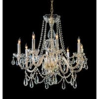 Crystorama Traditional Crystal Collection 8-light Polished Brass/Swarovski Spectra Crystal Chandelier - Polished Brass