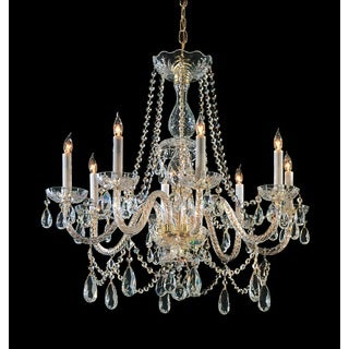 Crystorama Traditional Crystal Collection 8-light Polished Brass/Swarovski Strass Crystal Chandelier - Gold