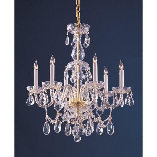 Crystorama Traditional Crystal Collection 6 Light Polished Brass Swarovski Strass Chandelier