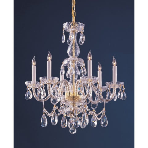 Crystorama Traditional Crystal Collection 6-light Polished Brass/Swarovski Strass Crystal Chandelier - Brass/Clear