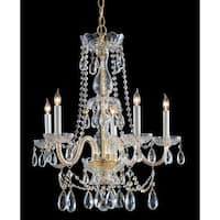 Crystorama Traditional Crystal Collection 5-light Polished Brass/Swarovski Spectra Crystal Chandelier