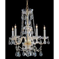 Crystorama Traditional Crystal Collection 5-light Polished Brass/Crystal Chandelier