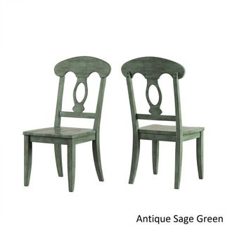 Eleanor Oak and Sage Green Solid Wood Oval Table 5-piece Dining Set with Napoleon Back by TRIBECCA HOME