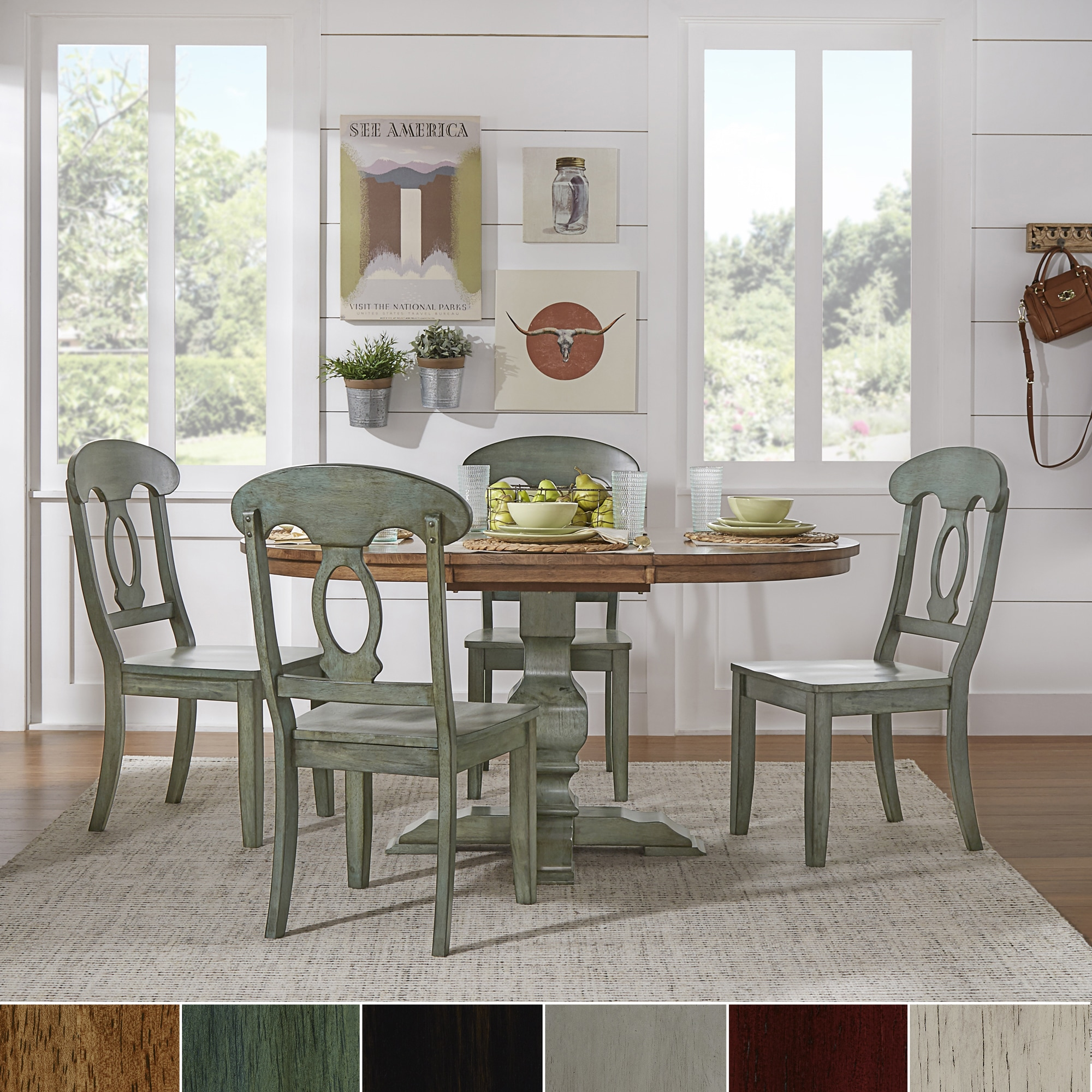 Eleanor Sage Green Solid Wood Oval Table Napoleon Back 5 Piece Dining Set By Inspire Q Clic