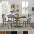 Eleanor Oak and Aqua Solid Wood Oval Table 5-Piece Dining Set - Napoleon Back by TRIBECCA HOME