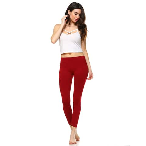 White Mark Women's Red Super-stretch Solid Leggings
