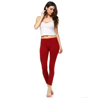 White Mark Women's Red Super-stretch Solid Leggings