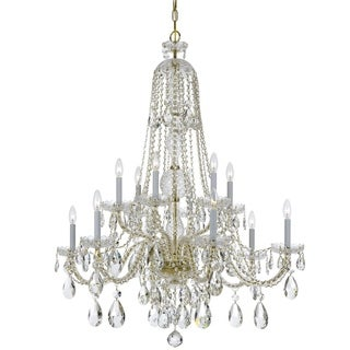 Crystorama Traditional Crystal Collection 12-light Polished Brass/Swarovski Spectra Crystal Chandelier