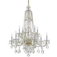 Crystorama Traditional Crystal 12-light Brass/Swarovski Spectra Crystal Chandelier - Gold