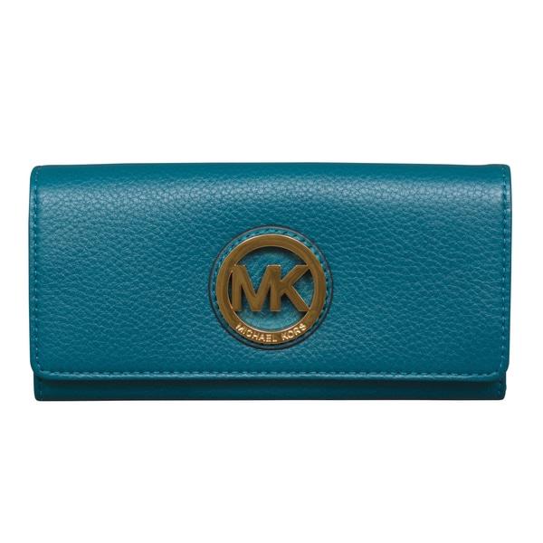 5b58479dbe45 Shop Michael Kors Fulton Flap Deep Teal Continental Wallet - Free ...