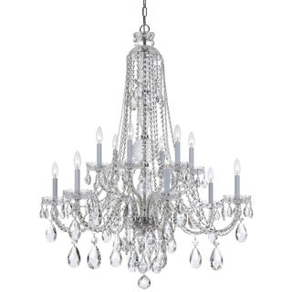 Crystorama Traditional Crystal Collection 12-light Polished Chrome/Swarovski Strass Crystal Chandelier