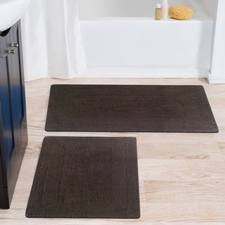 Benzara Arizona Brown Cotton Reversible Bath Rug (Set of 2)
