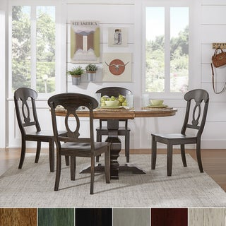 Eleanor Oak and Black Solid Wood Oval Table 5-Piece Dining Set - Napoleon Back by TRIBECCA HOME