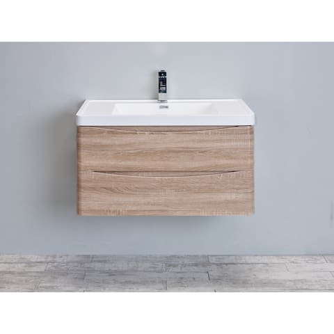 Eviva Smile 30 inch White Oak Wall Mount Modern Bathroom Vanity with White Integrated Acrylic Top