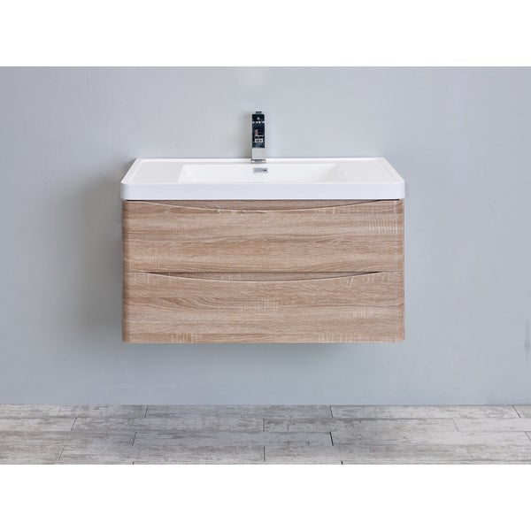 Shop eviva smile white oak 30 inch wall mount bathroom - 30 inch white bathroom vanity with sink ...