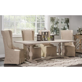 Kosas Home Milburn Natural Linen Birch Wood Wingback Chair