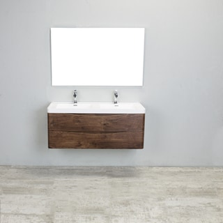 Eviva Smile Rosewood Integrated White Acrylic Double Sink 48 Inch  Wall Mount Bathroom Vanity