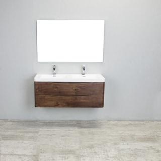 Eviva Smile Rosewood Integrated White Acrylic Double Sink 48-inch Wall-mount Bathroom Vanity Set