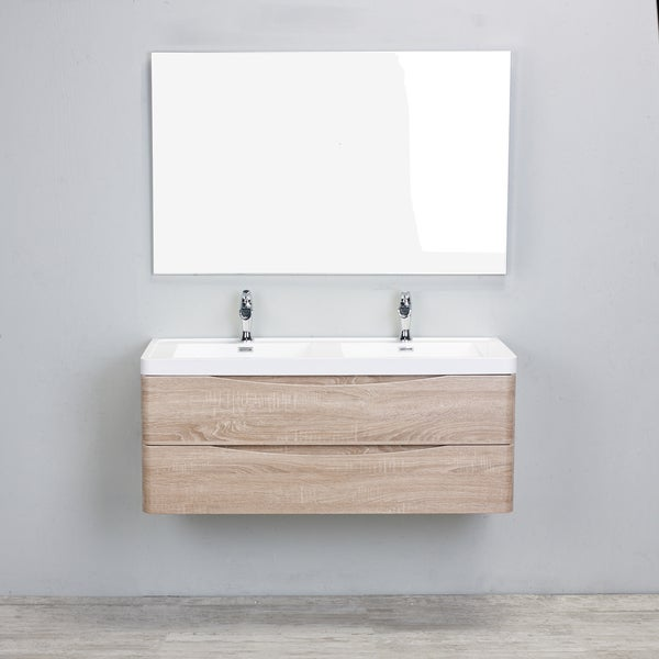 Eviva Smile White Acrylic Double-sink Wall Mount White Oak 48-inch Bathroom Vanity Set