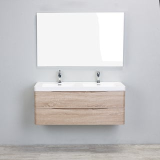 Eviva Smile White Acrylic Double-sink Wall Mount White Oak 48-inch Bathroom Vanity Set