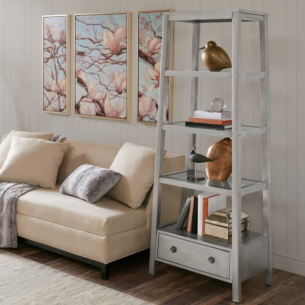 Shop Madison Park Signature Gilda Antique Silver Ladder Bookcase Free Shipping Today