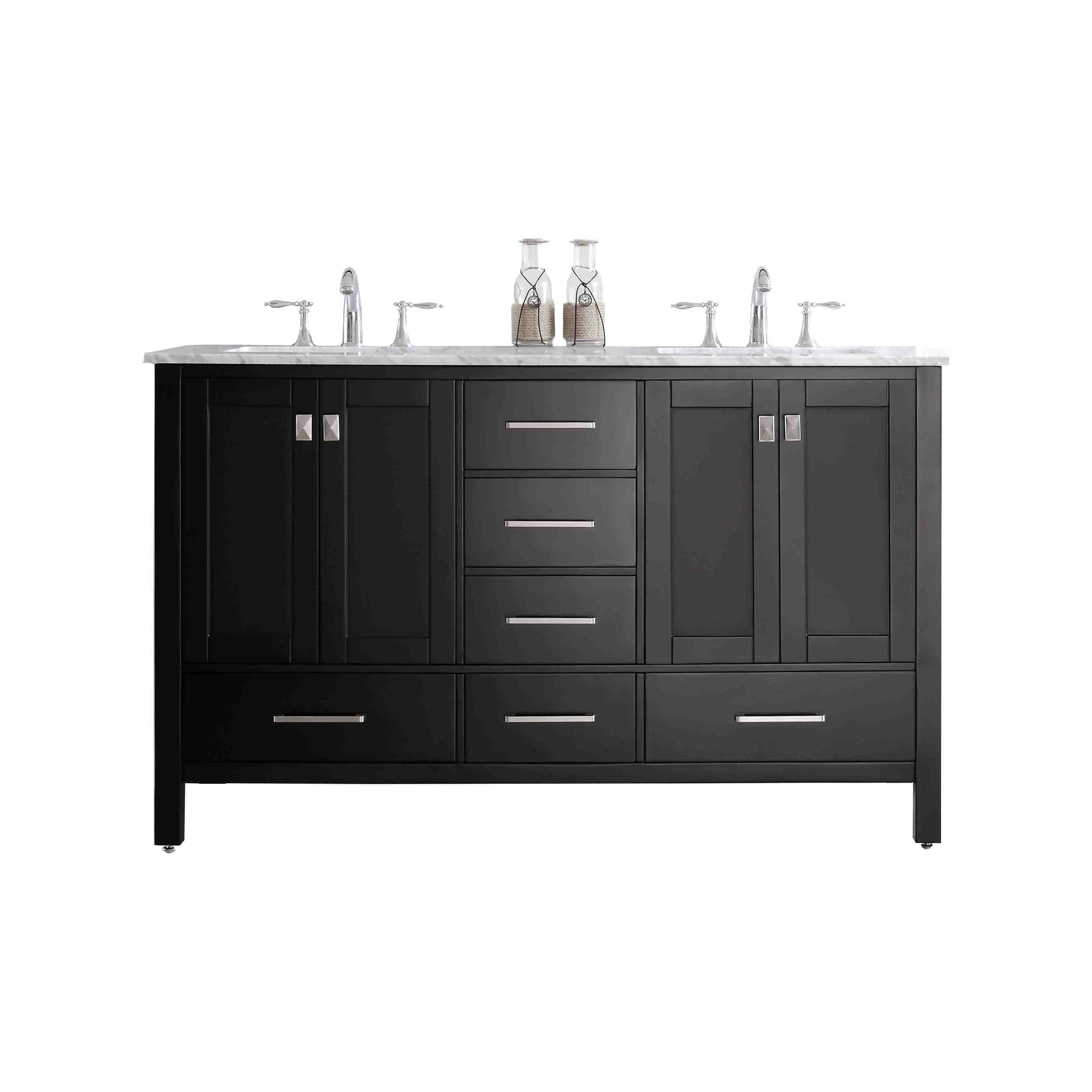 Eviva Aberdeen White Carrera Countertop 60-inch Transitional Espresso Bathroom Vanity