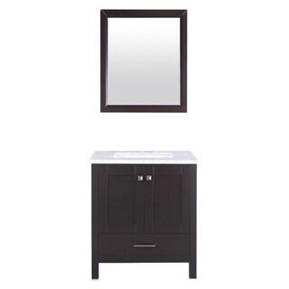 Eviva Aberdeen 30-inch White Carrera Countertop Espresso Wood Bathroom Vanity