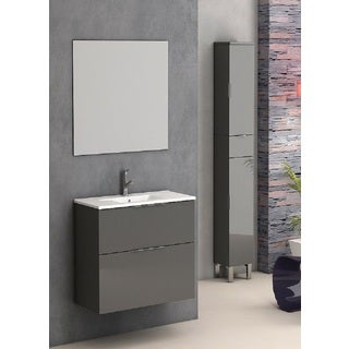 Eviva Galsaky 24-inch White Integrated Porcelain Sink Grey Wall-mount Bathroom Vanity