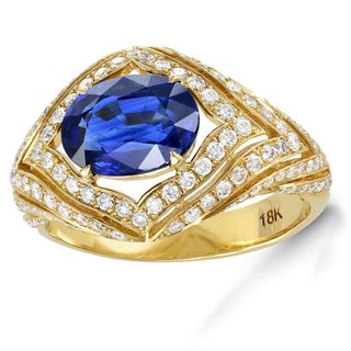 18k Yellow Gold 2 1/2ct Sapphire and Diamond Accent Engagement Halo Ring