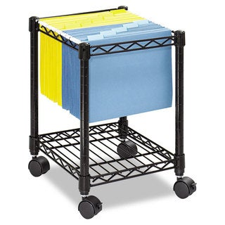 Safco Compact Mobile Wire File Cart One-Shelf 15-1/2-inch wide x 14-inch deep x 19-3/4-inch high Black