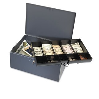 SteelMaster Extra Large Cash Box with Handles Key Lock Grey