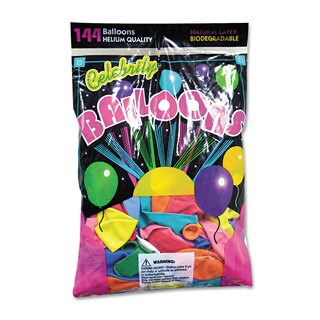 Tablemate Helium Quality Latex Balloons 12 Assorted Colors 144/Pack