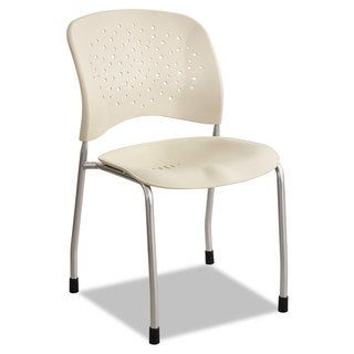 Safco Reve Series Guest Chair with Straight Legs Latte Plastic Silver Steel 2/Carton