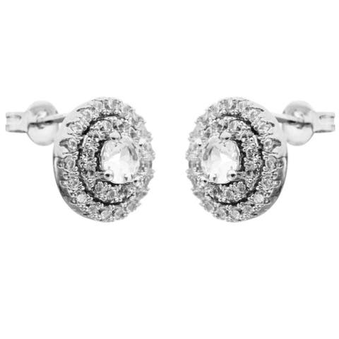 White Gold Plated Stud Earrings with 'Three Concentric Circles' Design and High Quality Crystals by Matashi