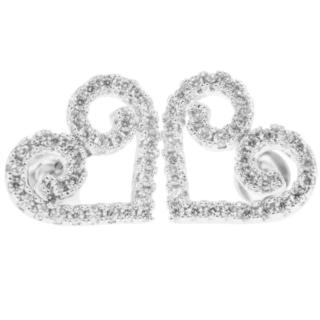 18k White Gold-plated 'Swirling Heart' Design Stud Earrings with High Quality Crystals by Matashi