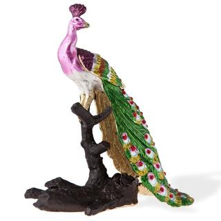 Matashi Hand Painted 24k Goldplated Crystal Regal 'Peacock on a Perch' Ornament Trinket Box