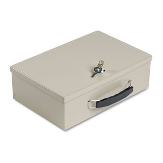 SteelMaster Heavy-Duty Steel Fire-Retardant Security Cash Box Key Lock Sand