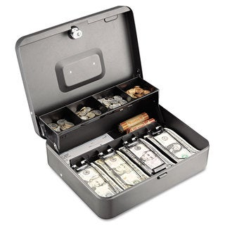 SteelMaster Tiered Cash Box with Bill Weights Cam Key Lock Charcoal