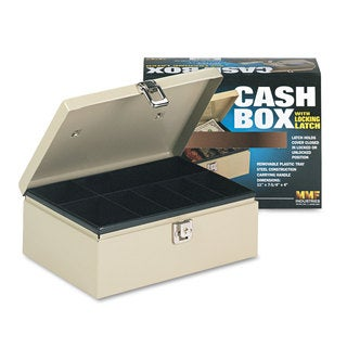 SteelMaster Heavy-Duty Steel Cash Box with 7 Compartments Latch Lock Sand
