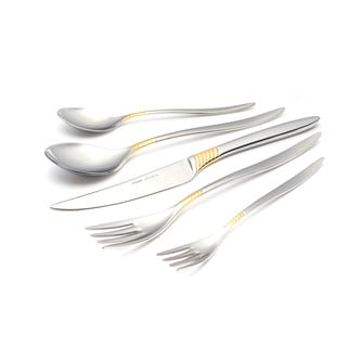 Mamba 30-piece Flatware Set with Gold Decorated Mirror-Polished Finish Service for 6
