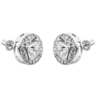 Matashi 18k White Goldplated High-quality Crystals 2-in-1 Interconnecting Earrings Set