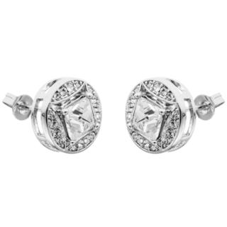 White Gold Plated 2-In-1 Interconnecting Stud Earrings Set With Circle or Square Design and High