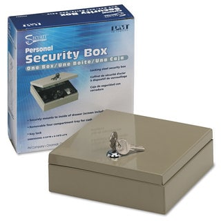 PM Company Securit Steel Personal Cash/Security Box with 4 Compartments Key Lock Pebble Beige