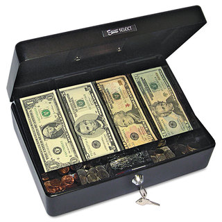 PM Company Securit Select Spacious Size Cash Box 9-Compartment Tray 2 Keys Black with Silver Handle