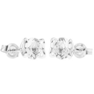 18k White Gold-plated 'Heart and Crystal' Design Stud Earrings Set with High Quality Crystals by Matashi