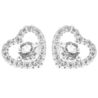 18k White Gold Plated Stud Earrings with Crystal Centered Heart Design and High Quality Crystals by Matashi