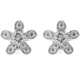 18k White Gold Plated Stud Earrings with 'Delicate 5 Petalled Flower' Design and High Quality Crystals by Matashi