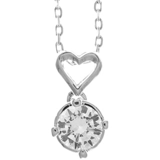 Matashi 18k White Gold-plated Crystal/Heart Design 16-inch Extendable Chain Necklace