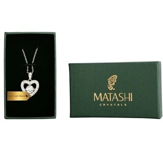 Matashi 18k White Gold-plated Necklace with Crystal Centered Heart Design with 16-inch Extendable Chain