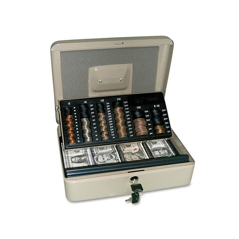 PM Company Securit 3-in-1 Cash-Change-Storage Steel Security Box with Key Lock Pebble Beige